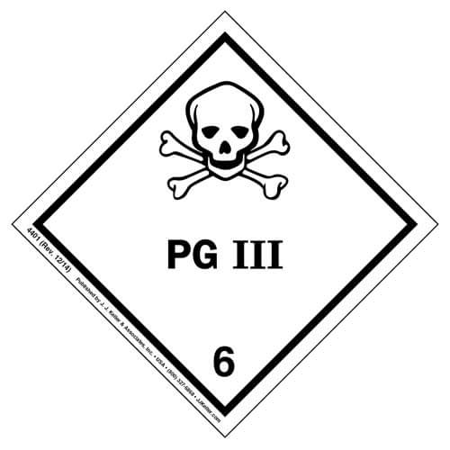 Hazardous Materials Labels - Class 6, Division 6.1 -- Packing Group III -- Poly (05273)