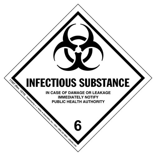 Hazardous Materials Labels - Class 6, Division 6.2 -- Infectious Substance - Poly (05275)