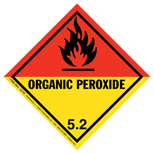 Hazardous Materials Labels - Class 5, Division 5.2 -- Organic Peroxide - Poly (05276)