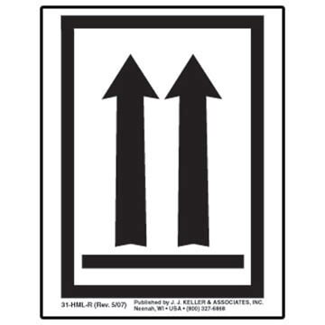 This End Up - Orientation Arrows Package Marking - Poly, Black Ink, Roll of 500 (05398)