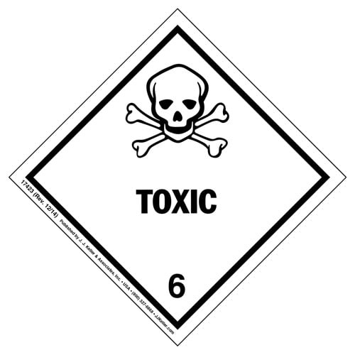 Hazardous Materials Labels - Class 6, Division 6.1 -- Toxic - Poly (05399)