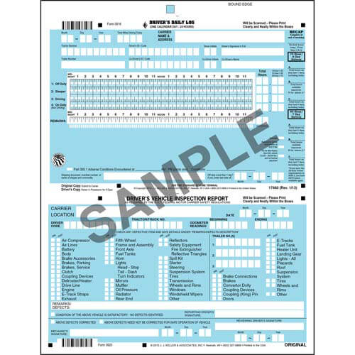 J. J. Keller's Log & DVIR Auditing Service-Scannable Combo Format - Stock (05418)