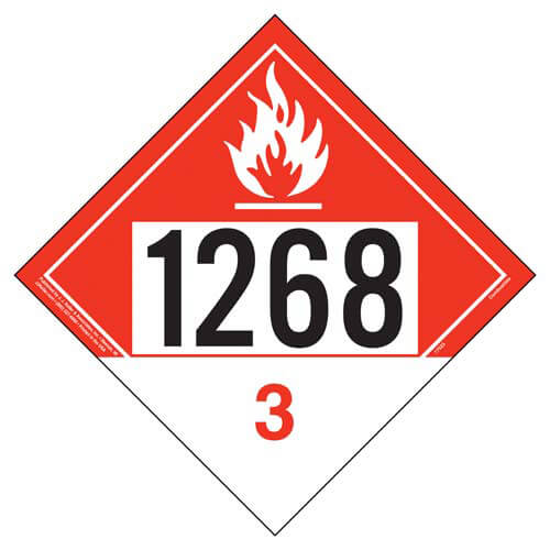 1268 Placard - Class 3 Combustible Liquid (05489)