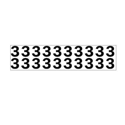 "Individual 1.25"" Vinyl Numbers - 3 (Three) (05638)"