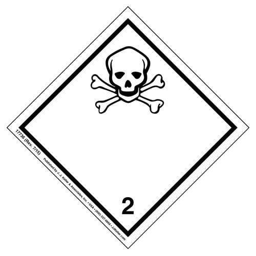 International Dangerous Goods Label - Class 2 -- Toxic Gas - Paper (05684)