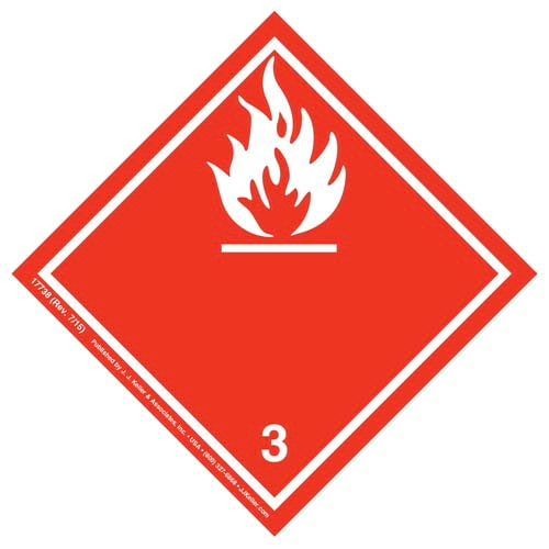 International Dangerous Goods Label - Class 3 -- Fammable Liquid - Paper (05686)