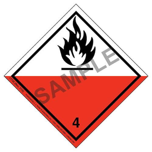 International Dangerous Goods Label - Class 4 -- Spontaneous Combustible - Paper (05693)