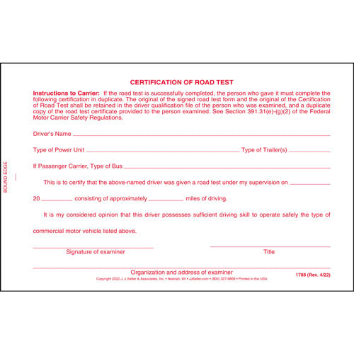 Certification of Road Test Form with Wallet Card (00163)