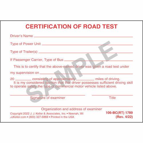 Certification of Road Test - Pocket Cards (00162)