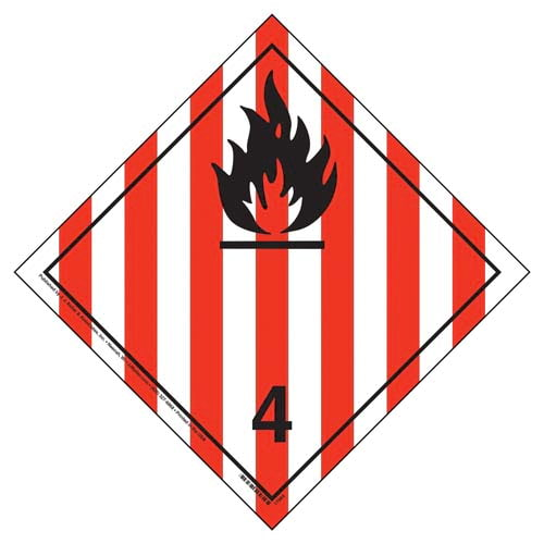 International Dangerous Goods Placard - Flammable Solid (Class 4), Tagboard (05842)
