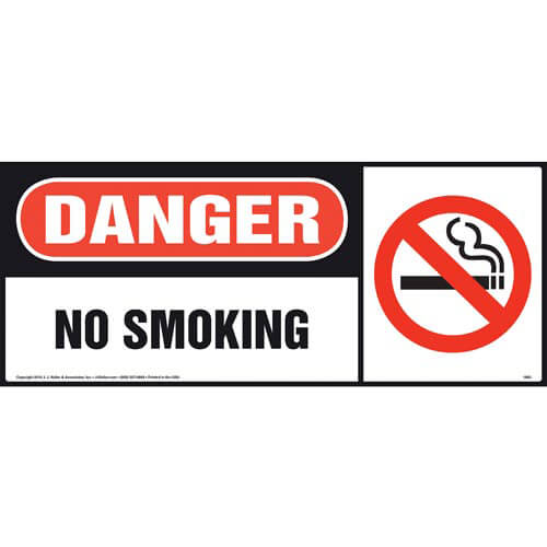Danger: No Smoking Sign with Icon, Long Format (00403)