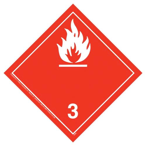International Class 3 Flammable Liquid Placard - Wordless (05858)