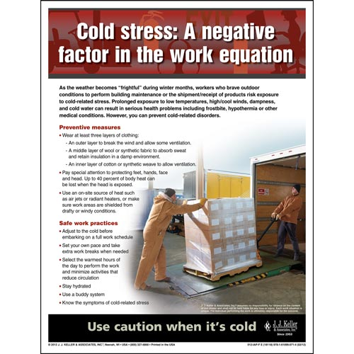 "Cold Weather - Workplace Safety Advisor Poster - ""Cold Stress"" (05963)"