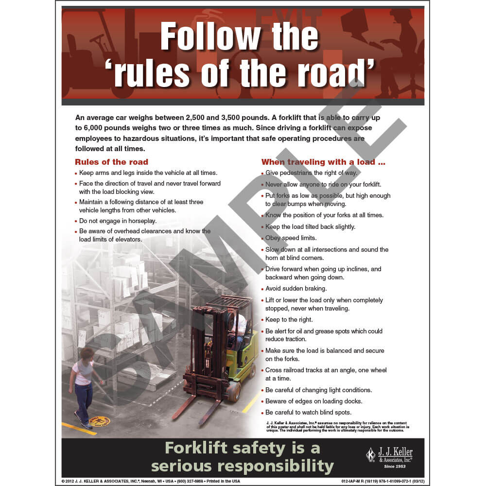 "Forklift Safety - Workplace Safety Advisor Poster - ""Follow the ""rules of the road'"" (05964)"
