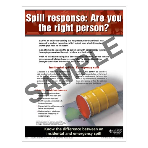 "Workplace Safety - Workplace Safety Advisor Poster - ""Spill response: Are you the right person"" (05966)"