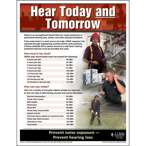 "Hearing Protection - Workplace Safety Advisor Poster - ""Hear Today and Tomorrow"" (05970)"