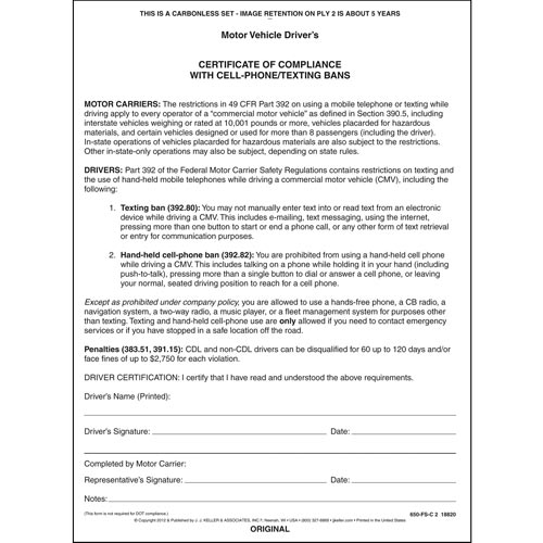 No Texting Certification Form (06413)