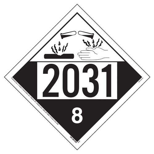2031 Placard - Class 8 Corrosive (01568)