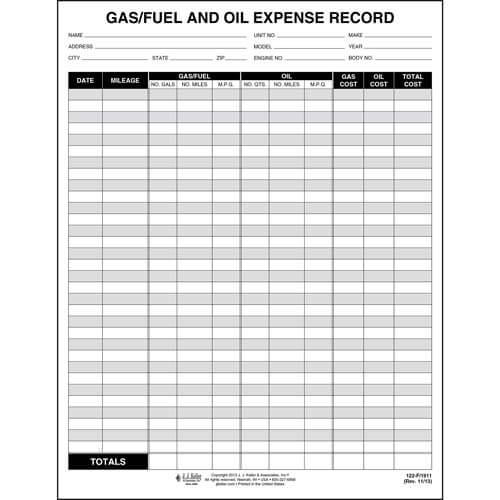 Gas Amp Oil Expense Record Form
