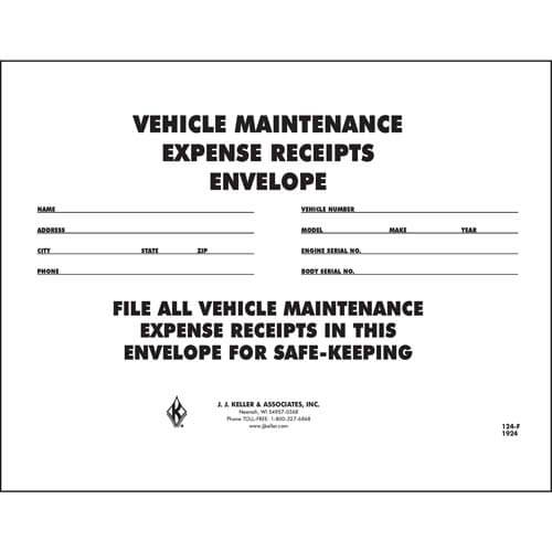Vehicle Maintenance Receipt Envelope (00433)