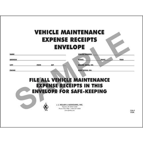 vehicle maintenance receipt envelope