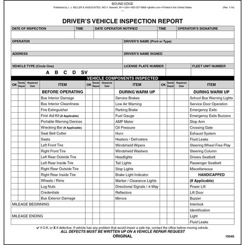 New Jersey Bus Driver Vehicle Inspection Report, Book Format - Stock (06697)