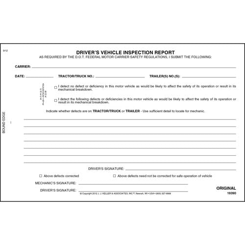 Simplified Driver's Vehicle Inspection Report, 2-Ply, w/Carbon - Personalized (05571)