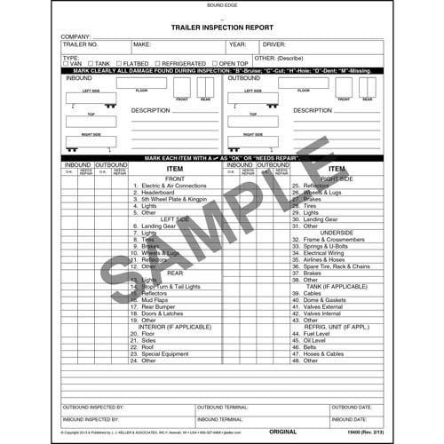 Trailer Inspection Report, 2-Ply, Book Format - Personalized (05574)