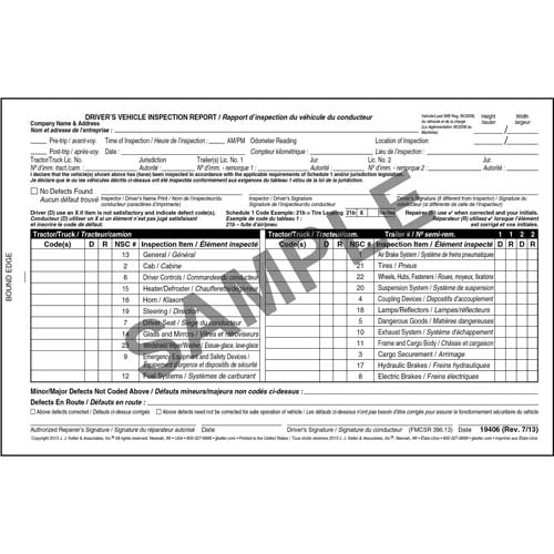 Canadian Driver's Vehicle Inspection Report, Bilingual - Personalized (05576)