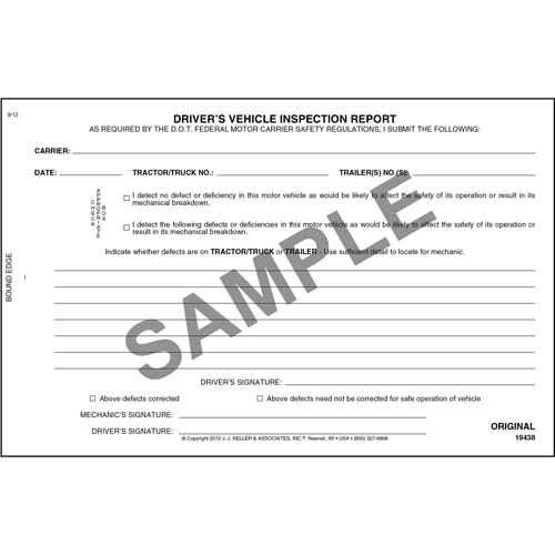 Simplified Driver's Vehicle Inspection Report, 3-Ply, Carbonless, Book Format - Personalized (05589)