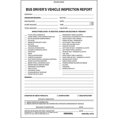 Bus Driver's Vehicle Inspection Report, 2-Ply, Carbonless - Personalized (05593)