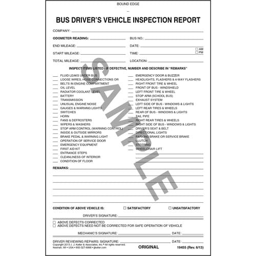 Bus Driver's Vehicle Inspection Report, 3-Ply, Carbonless - Personalized (05594)