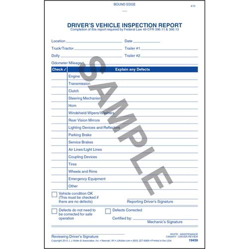 Simplified Driver's Vehicle Inspection Report - Vertical Format, 3-Ply, Carbonless, Book Format - Personalized (05596)