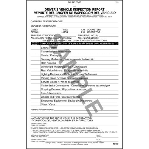Simplified Driver's Vehicle Inspection Report, Bilingual - Vertical Format - Personalized (05579)