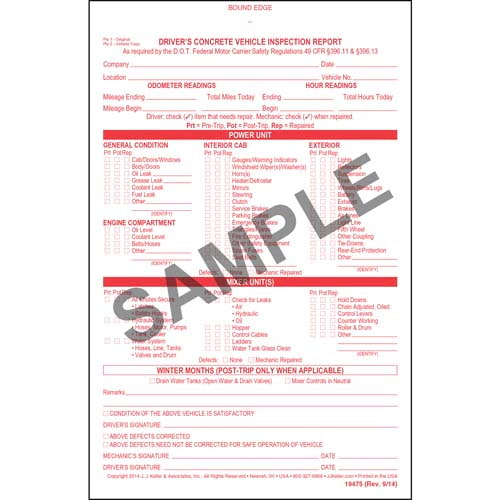 Driver's Concrete Vehicle Inspection Report, Book Format - Personalized (05583)