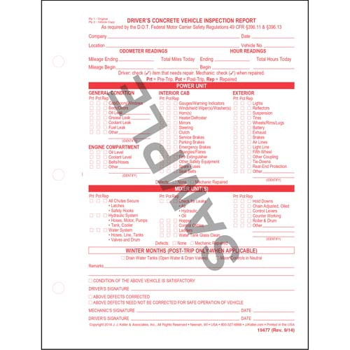 Driver's Concrete Vehicle Inspection Report, Snap-Out Format - Personalized (05560)