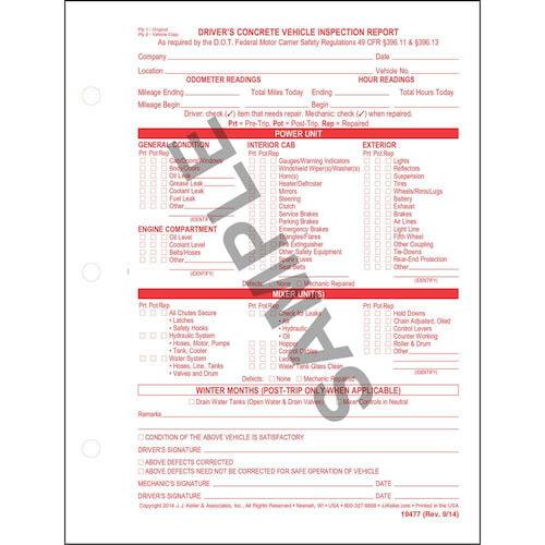 Concrete Inspection Report : Driver s concrete vehicle inspection report snap out