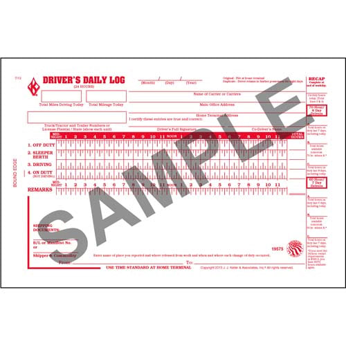 Driver's Daily Log Book w/Detailed DVIR, 3-Ply, w/Recap - Personalized (00959)