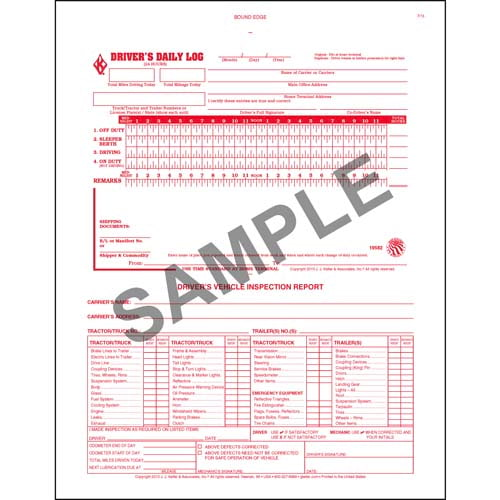 2-In-1 Driver's Daily Log Book w/Detailed DVIR, 2-Ply, w/Carbon, No Recap - Personalized (01079)