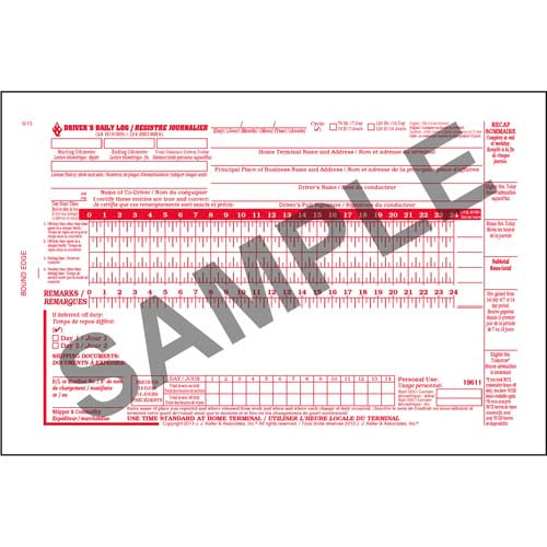 Canadian Driver's Daily Log Book, Bilingual, 2-Ply, w/Carbon, w/Recap - Personalized (01396)