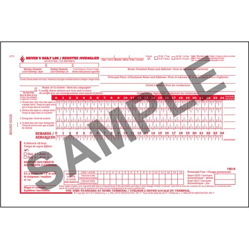 Canadian Driver's Daily Log Book, Bilingual, 2-Ply, w/Carbon, No Recap - Personalized (01149)