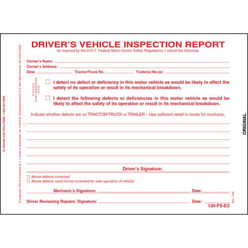 Simplified Driver's Vehicle Inspection Report, 3-Ply, w/Carbon, Snap-Out Format - Stock (00234)