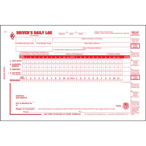 Driver's Daily Log Book w/No DVIR, 2-Ply - Personalized (01169)
