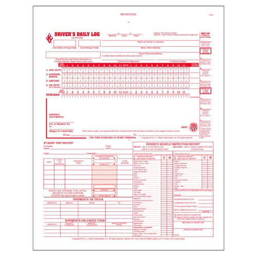 5-In-1 Driver's Daily Log Book, 3-Ply, Carbonless - Personalized (01087)