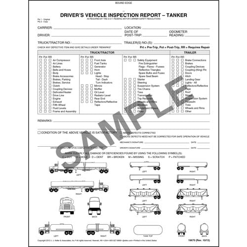 Detailed Driver's Vehicle Inspection Report w/Illustrations (Tanker), Book Format - Personalized (05601)