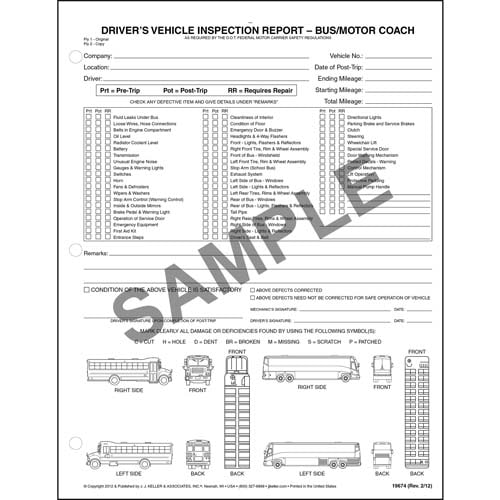 Detailed Driver's Vehicle Inspection Reports w/Illustrations (Bus & Motor Coach), Snap-Out Format - Personalized (05569)