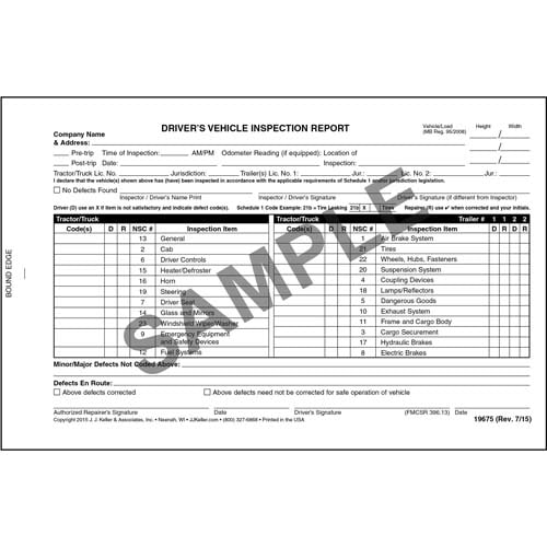 Canadian Driver's Vehicle Inspection Report, 2-Ply, Carbonless - Personalized (05603)