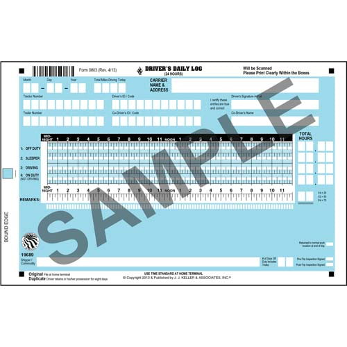 Scannable Driver's Daily Log Book, 2-Ply, w/Carbon, No Recap, Book Format - Personalized (01223)