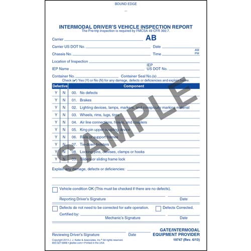 Intermodal Driver's Chassis Inspection Report - Pre-Trip, Book Format - Personalized (05605)