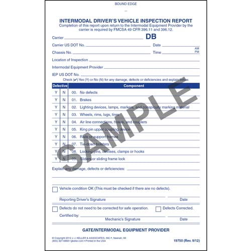 Intermodal Driver's Vehicle Inspection Report - Personalized (05608)